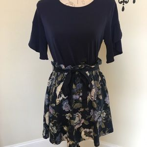 🦋 Navy Floral Paper Bag Skirt 🦋